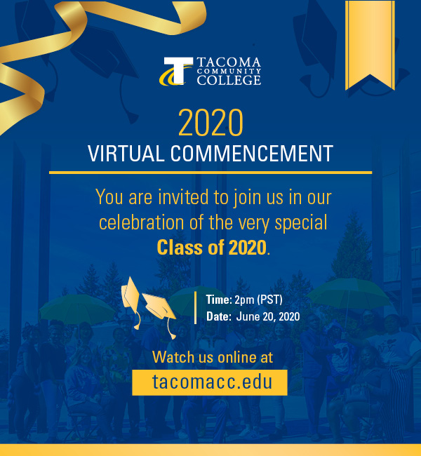 blue and yellow graphic with words inviting friends and family to 2020 graduation