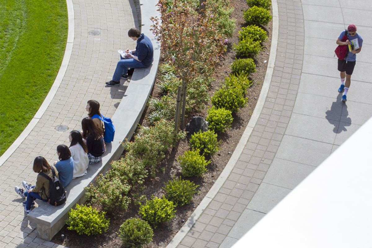 Aerial view of students sittling on the curved stone bench around the campus commons and one student walking on the campus walkway