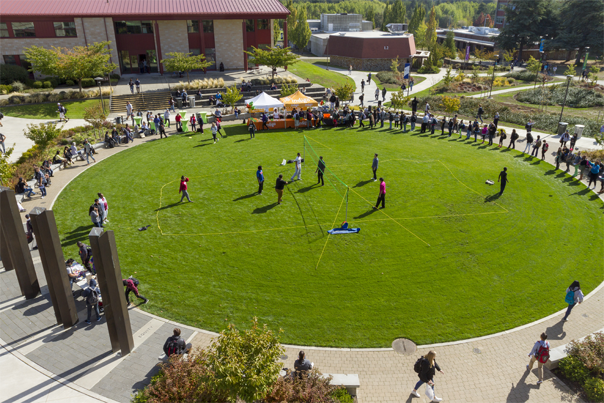 Aerial view of a crowd on the Campus Commons
