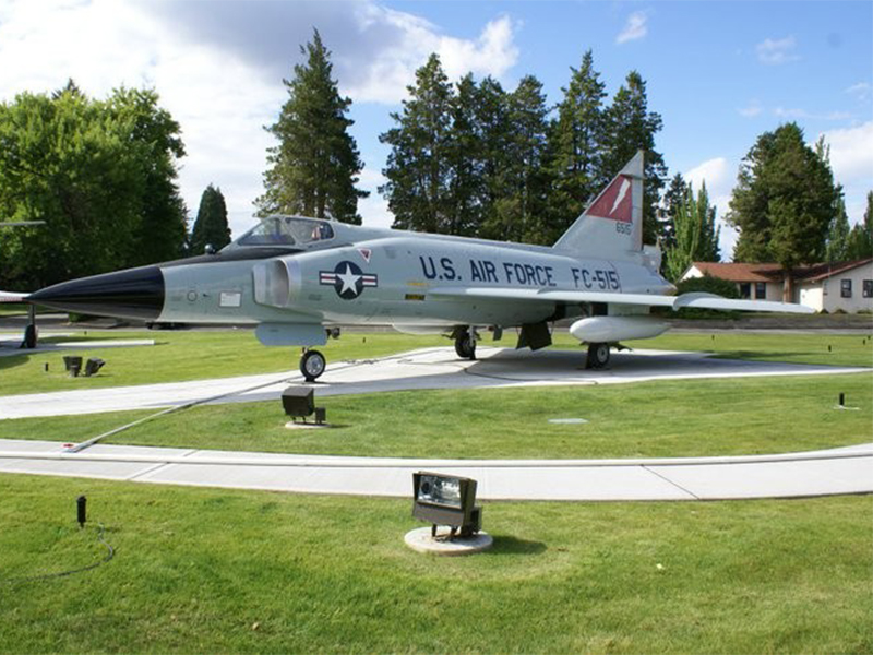 A US Air Force FC-515 fighter plane on display on a lawn